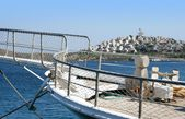 Yacht in Aegean sea — Stock Photo