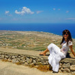 Beautiful woman on Santorini — Stock Photo
