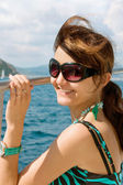 Woman on yacht in the sea — Stock Photo