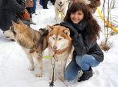 Young woman and dog siberian husky   — Stock Photo