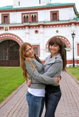 Girls in a park in Moscow city — Стоковое фото