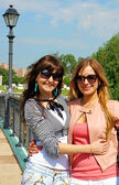Girls in a park in Moscow city — Stock Photo