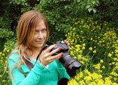 Beautiful girl - photographer — Foto Stock