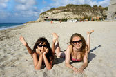 Young women on a beach in Italy — Stock Photo