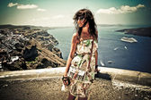 Young woman in Santorini,Thira — Stock Photo