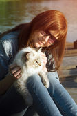 Young woman and Siberian cat  — Stock Photo