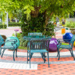 Outdoor chair in the garden — Stock Photo