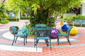 Outdoor chair in the garden — Stockfoto
