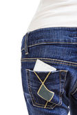Condom in the back pocket of blue jeans — Stock Photo