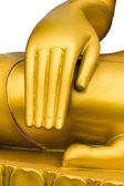 Close up golden hand of buddha statue. — Stock Photo
