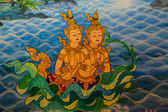 Ancient Thai-style murals in the thai temple. — Stock Photo