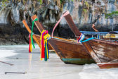 Row of long-tailed boat at Andaman Sea . — Стоковое фото