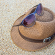 Woven hat with sunglasses. — Stock Photo #44756037