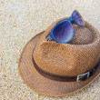Woven hat with sunglasses. — Stock Photo #44859979
