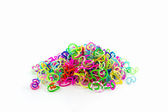 Group of elastic rainbow loom bands — Stock Photo
