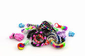 Colorful of elastic rainbow loom bands. — Stock Photo