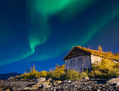 Illuminated Tent with northern Lights .Tromso — Stock fotografie