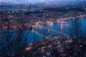 Aerial view over Tromso Bridge - linking the mainland — 图库照片