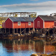 Stock Photo: Typical red rorbu huts with sod roof in town of Reine on Lofoten islands in Norway