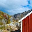 Typical red rorbu huts with sod roof in town of Reine on Lofoten islands in Norway — Stock Photo