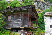 Old houses in Switzerland.La Sag.Valais — Foto Stock