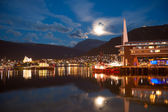 Aerial view of Tromso Cityscape at dusk Norway — Stock Photo