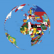 World globe map of Europe,Africa and Asia colored with national flags and countries names    — Stock Photo