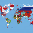 World Map Colored With Countries Flags & All Countries Names — Stok fotoğraf
