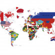 World Map in countries flags and names isolated on white — Stock Photo