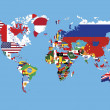 World Map in countries flags without names on blue background — Stock Photo