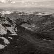 Low mountains monochrome toned image — Stock Photo