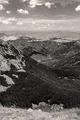 Low mountains monochrome toned image — Stock Photo