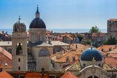 çatı kubbeler ortaçağ katedrali ve evler bir kırmızı kiremitli — Stok fotoğraf