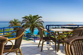 Veranda of the hotel with sea view — Stock Photo