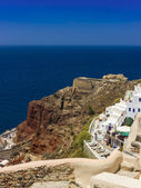 Old fortress on the red rock. Santorini, Greece — Stock Photo