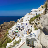 White houses with blue trim on the island of Santorini, Greece — Stock Photo