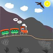 Entrenan en las montañas — Vector de stock