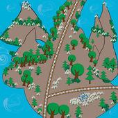 Map of fairy island — Stock Vector
