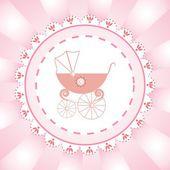 Grußkarte für neugeborene mädchen — Stockvektor