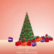 Fir tree with gifts — Imagen vectorial