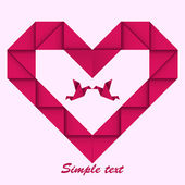 Paper origami heart with paper's doves. Valentines day — Stock Vector