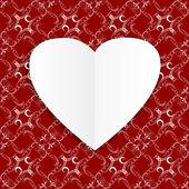 Fond avec des coeurs rouges dans le style origami — Vecteur