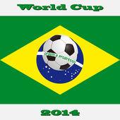 Fotboll och flagga brasilien 2014 — Stockvektor