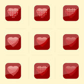 Heart. Collection of buttons. — Stock Vector