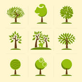 Tree. Collection of design elements. — Stock Vector