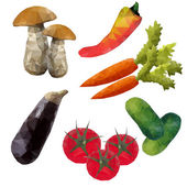 Uppsättning av grönsaker från polygoner — Stockvektor