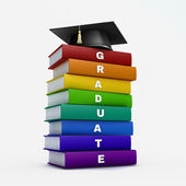 Mortar board on stack of rainbow graduate book isolated on white — Stock Photo