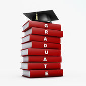 Mortar board on stack of red graduate book isolated on white wit — Stock Photo