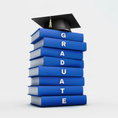 Mortar board on stack of blue graduate book isolated on white w — Stock Photo