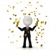 Businessman in the rain of gold coin, clipping path included — Stock Photo #37090973